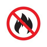 No fire sign icon. Hazard symbol. Vector illustration.  Stock Photos