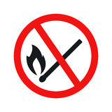 No fire sign icon. On white background. Illustration flat vector eps10 Royalty Free Stock Photography