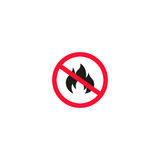 No fire sign isolated on white background. Vector illustration. Prohibition open flame symbol, flammable hazard sign, road information and help, roadway auto Royalty Free Stock Photos