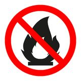No Fire sign. Prohibition open flame symbol. Red icon on white background Royalty Free Stock Image