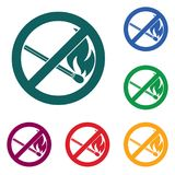 No Fire sign. Prohibition open flame symbol. Vector illustration Stock Photography