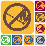 No Fire sign. Prohibition open flame symbol. Vector illustration Stock Images