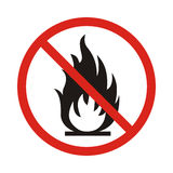 No Fire sign. Prohibition open flame symbol. Red icon on white b. Ackground. Vector Stock Photography
