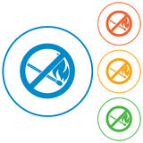 No Fire sign. Prohibition open flame symbol. Vector illustration Royalty Free Stock Images