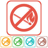 No Fire sign. Prohibition open flame symbol. Vector illustration Royalty Free Stock Photos