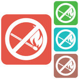 No Fire sign. Prohibition open flame symbol. Vector illustration Stock Photos