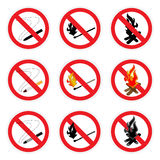 No fire sign set. Three vector icon set. Signs no smoking, no open fire Royalty Free Stock Photo