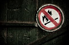 No fire sign on the wall Stock Photo