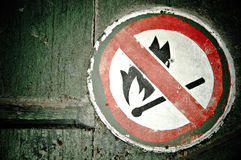 No fire sign on the wall Stock Photography