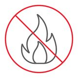 No Fire thin line icon, prohibition and forbidden. No flame sign vector graphics, a linear pattern on a white background, eps 10 Stock Image