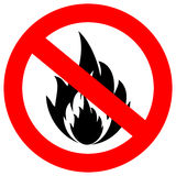 No fire vector sign. Isolated on white Royalty Free Stock Photos
