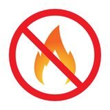 No fire Vector Sign. Vector. No fire Color Sign Stock Images