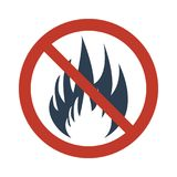No Fire Vector Sign. No Fire Sign on white background. Vector illustration Stock Photo