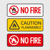 No fire. Warning sign of flammable product and no fire. Vector stickers Stock Photos