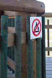 No fire warning sign on wooden construction Stock Photos