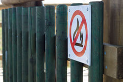No fire warning sign on wooden structure Royalty Free Stock Images