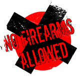 No Firearms Allowed rubber stamp. Grunge design with dust scratches. Effects can be easily removed for a clean, crisp look. Color is easily changed Stock Images