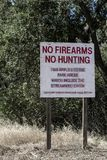 No firearms no hunting sign stock images