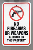 No firearms or weapons warning sign Royalty Free Stock Photos