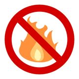 No open fire. No fires - forbidden bonfires and campfires. Fire banned in forest -  sign Royalty Free Stock Images