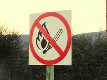 No fires sign on pole on roadside Stock Photography