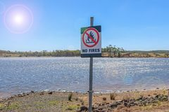 A No Fires warning sign on a summer day with lens flare Stock Image
