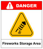 No Fireworks Vector warning icon. Vector warning icon. No Fireworks danger sign in yellow triangle isolated on white. Fireworks storage area, explosives, keep Royalty Free Stock Photo