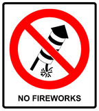 No Fireworks Vector warning icon Stock Image