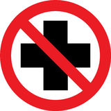 No first aid sign. No first aid available sign on white background Stock Images