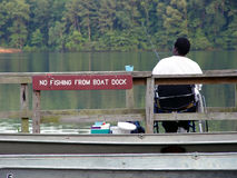 No Fishing. Fishing from the boat dock royalty free stock image
