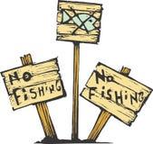 No Fishing. Three no fishing signs made of wood Stock Photo