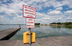 No fishing allowed in swimming area Royalty Free Stock Photography