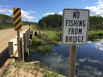 No Fishing From Bridge Sign Stock Photos