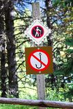 A No Fishing No Hiking sign on a tree Stock Photography