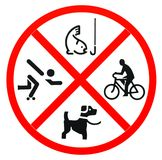 No fishing , no skateboarding and no pet. On white background Royalty Free Stock Image