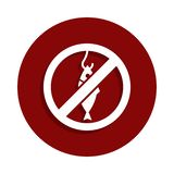 no fishing, prohibited sign icon in badge style. One of Decline collection icon can be used for UI, UX stock illustration