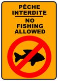 No fishing sign. No fishing permitted sign - illustration sign - peche interdite Stock Photography