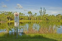 No Fishing Sign. A no fishing and beware of alligators sign in a park lake in Miami,Florida Stock Image