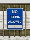 No Fishing Sign. Posted on boardwalk in North Beach, Maryland stock photo