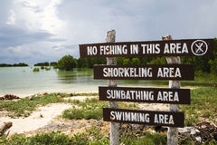 No fishing sign. No fishing in this area sign on beach in palawan, the philippines stock images