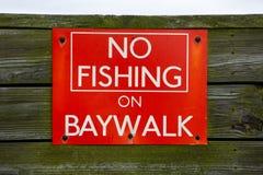 No Fishing sign in Atlantic City. A no fishing sign on the baywalk in Atlantic City New Jersey stock image