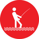 No fishing sign button. Color vector illustration Royalty Free Stock Photos