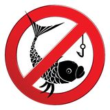 No fishing sign. Depicting banned activities prohibited not fish Stock Images