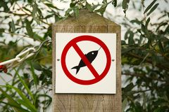 No Fishing Sign. At a lakeside royalty free stock photo