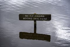 No fishing sign. NI, Hillsborough, April 2018: No fishing sign stock photo