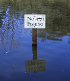 No Fishing. Sign in a stream Stock Photo