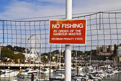 No Fishing sign Torquay Marina Stock Photography