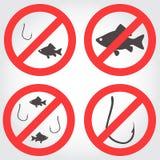 No fishing vector icons Stock Photo