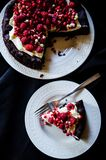 No flour chocolate cake with cream and berries Royalty Free Stock Photography