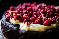 No flour chocolate cake with cream and berries Royalty Free Stock Photo